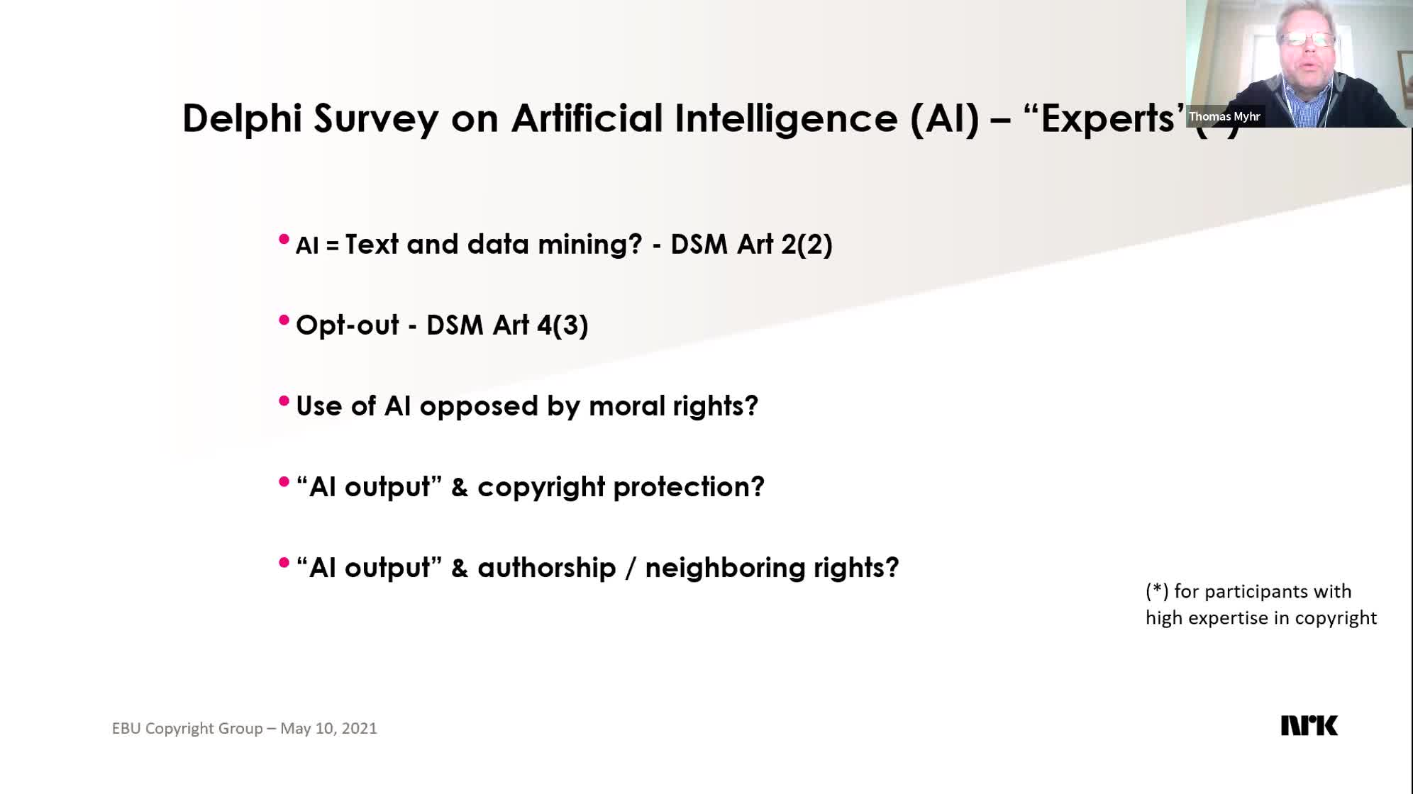 Copyright Group Meeting - Artificial Intelligence & Copyright